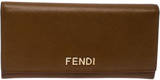 Fendi Tan Leather Logo Flap Continental Wallet