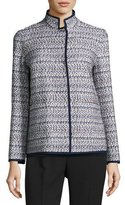 Lafayette 148 New York Branson Stand-Collar Tweed Jacket, Plus Size, Multi