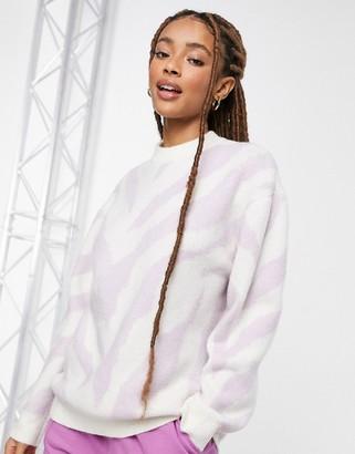 Bershka zebra print jumper in lilac