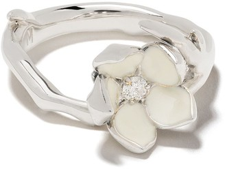 Shaun Leane Silver Cherry Blossom diamond flower ring