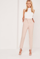 Missguided Crepe Wrap Tie High Waist Pants Nude