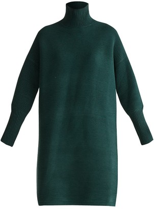 Paisie Ribbed Polo Neck Jumper Dress In Green