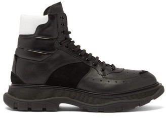 Alexander McQueen Chunky-sole Leather And Suede Boots - Black