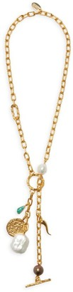 Lizzie Fortunato Scorpion Goldplated, Freshwater Pearl & Multi-Charm Lariat Necklace