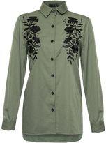 Quiz Khaki and Black Floral Shirt