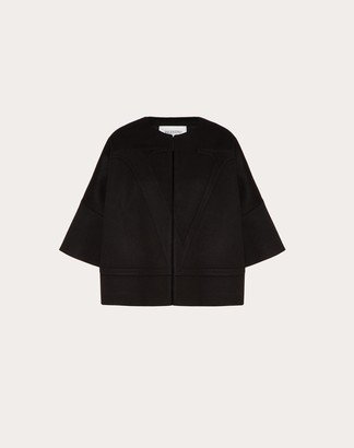 Valentino Vlogo Compact Wool Pea Coat Women Black Virgin Wool 95%, Cashmere 5% 36