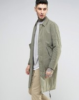 Asos Trench Coat with Parka Detail in Khaki