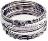 Guess Silver-Tone 9-Pc. Set Crystal & Bead Bangle Bracelets