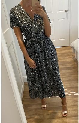 Gini London Animal Printed Short sleeve Midi Wrap Dress in Khaki
