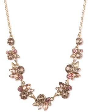 """Givenchy Crystal Floral Cluster Frontal Necklace, 16"""" + 3"""" extender"""