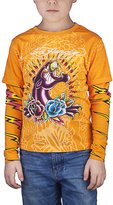 Ed Hardy Kids Long Sleeve Panther and Roses T-Shirt