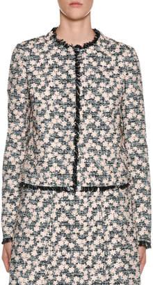 Giambattista Valli Fringe-Hem Floral-Embroidered Tweed Jacket