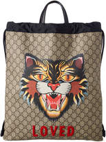 Gucci Angry Cat Print Gg Supreme Canvas Drawstring Bag
