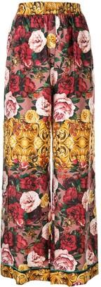 Dolce & Gabbana Baroque Rose Print Palazzo Trousers