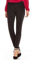 MICHAEL Michael Kors Grommet Laced Skinny Ankle Ponte Knit Pants
