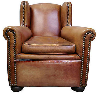 One Kings Lane Vintage French Leather Wingback Club Chair
