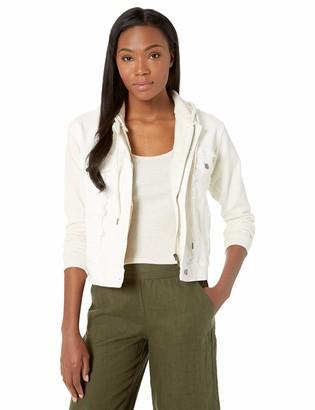 Splendid Women's Hooded Mixed Fabric Denim Jacket Off White XL