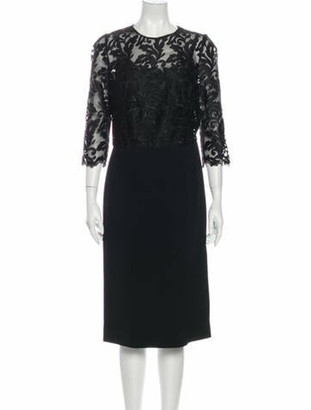 Dolce & Gabbana Lace Pattern Midi Length Dress Black