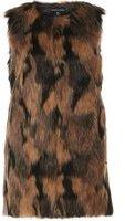 Dorothy Perkins Womens Brown Two Tone Faux Fur Gilet- Brown