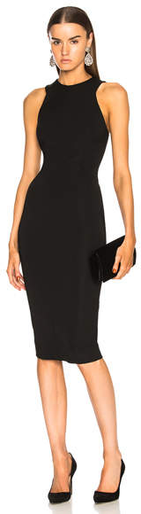 Victoria Beckham Racerback Fitted Midi Dress