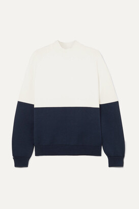 Tory Sport Oversized Two-tone Knitted Sweater - White
