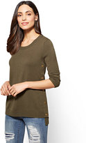 New York & Co. Side-Snap Hi-Lo Crewneck Sweater
