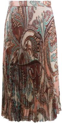 Blumarine Pleated Paisley-Print Midi Skirt