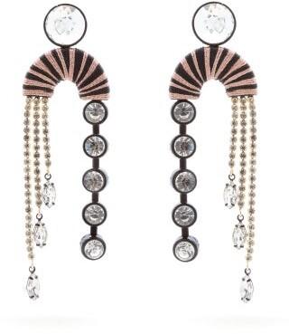 MaryJane Claverol Alpha Crystal-embellished Drop Earrings - Pink Multi