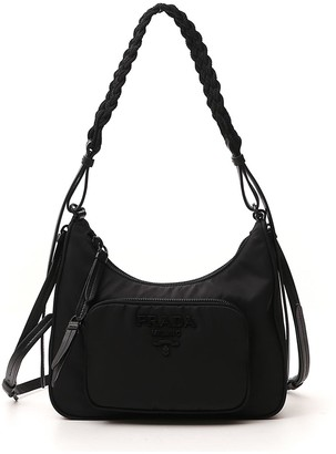 Prada Logo Hobo Shoulder Bag