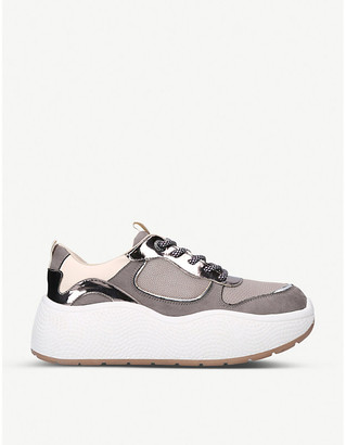 Kurt Geiger Lefty suede and faux-leather trainers