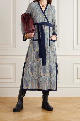 Etro Paisley-print Knitted Wrap Midi Dress - Blue