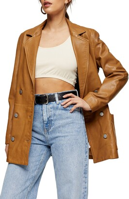 Topshop Jay Double Breasted Leather Boyfriend Blazer