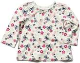 M&Co Butterfly print frill neck top