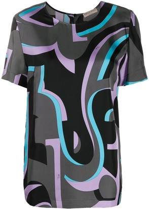 Emilio Pucci Abtract-Print Short-Sleeve Blouse