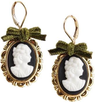 Dark Romance Goddess Oval Porcelain Cameo Earrings