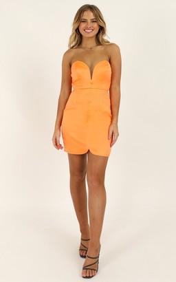 Showpo Going To Drive You Mad Dress in tangerine satin - 4 (XXS)