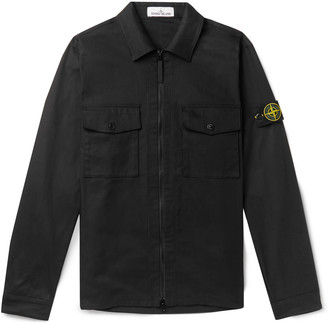Stone Island Logo-Appliqued Cotton-Blend Twill Zip-Up Overshirt