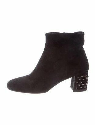 Prada Suede Studded Accents Boots Black