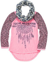 Arizona 3/4-Sleeve Graphic High-Low-Hem Top with Scarf - Girls 7-16