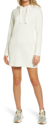 GUESS Kira Ribbed Long Sleeve Hoodie Dress