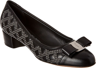 Salvatore Ferragamo Vara Bow Studded Leather Pump