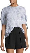Derek Lam 10 Crosby Short-Sleeve Crewneck Fine-Striped Top with Tie-Detail