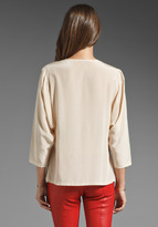 Trina Turk Solid Crepe Muffy Blouse