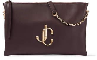 Jimmy Choo VARENNE SHOULDER/S Bordeaux Calf Leather Shoulder Bag with JC Logo
