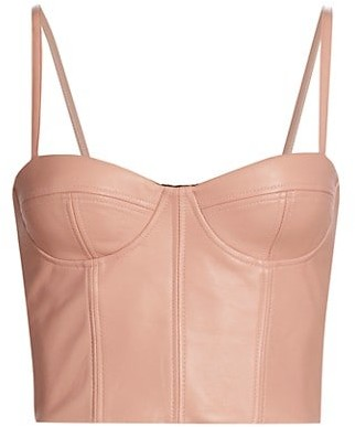 LaQuan Smith Leather Bustier Top