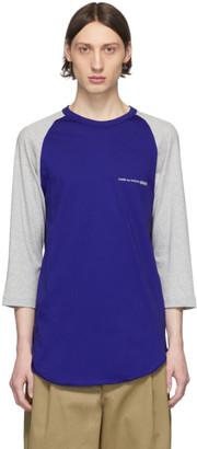 Comme des Garcons Grey and Blue Logo Baseball T-Shirt