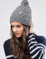 Alice Hannah Cable Knit with Gem Beanie
