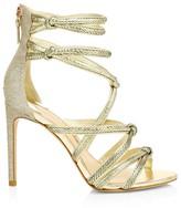 Sophia Webster Glitter Metallic Lizard-Embossed Leather Stiletto Sandals