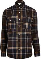River Island MensRust brown check flannel shirt