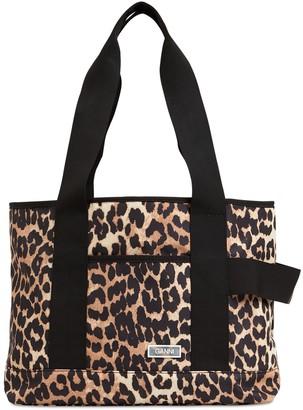 Ganni Leopard Print Tech Tote Bag